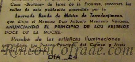 Detalle del Programa de Feria de Estepona de 1994 donde se nombra a la Banda de Música de Torredonjimeno