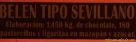 Belén de Chocolate - Elaboración: 1450 kg. de chocolate, 180 pastorcillos y figuritas en mazapán y azúcar
