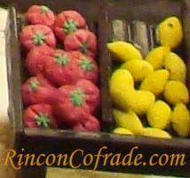 Detalle del Belén de Chocolate - Verduras realizadas de mazapán y azúcar